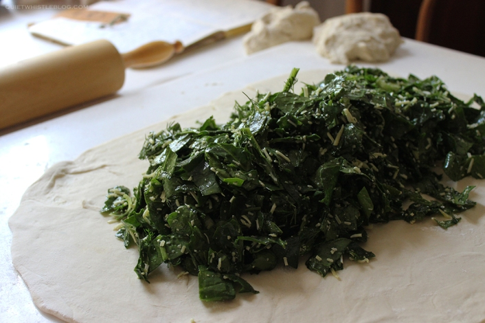 perfect rustic spinach pie - place a generous amount of filling on the pastry